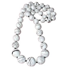 """Vintage White and Black Swirled Bead Necklace - 30"""" Long"""
