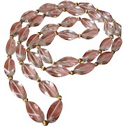 Vintage Clear Bead Necklace with Gold Spacers