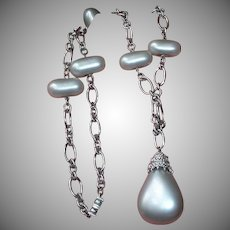 Vintage Silvery Gray Bead Necklace