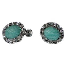 Vintage Faux Turquoise Sterling Silver Earrings