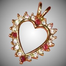 Vintage PENDANT - Dainty Gold Tone and Crystals Heart Pendant