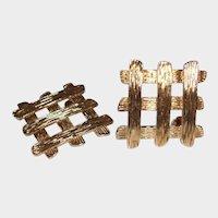 Vintage Gold Tone Woven Asian Look Pierced earrings