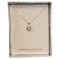 Vintage Single Faux Diamond Necklace - Cubic Zirconia Sterling Silver Necklace and Setting