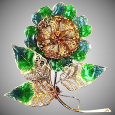 Antique Green Blue Enamel and Gilt Vermeil Brooch - CANNETILLE Filigree Rose Pin Portugal