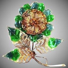 Antique Green Blue Enamel and Gilt Vermeil Brooch - CANNETILLE Filigree Rose Pin Portugal