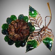Vintage Green Blue Enamel and Gold Tone Flower Brooch