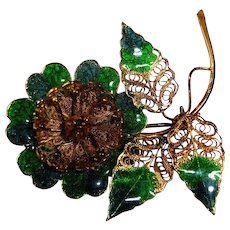 Vintage Green Blue Enamel and Gold Tone Flower Brooch