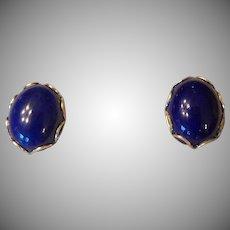 Vinatge  Lapis Lazuli and 14K Yellow Gold Stud Pierced Earrings