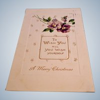 Antique Embossed Postcard - Merry Christmas 1910