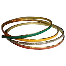 SALE*** Thin Golden and Enamel Bracelets Set if 4