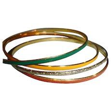Thin Golden and Enamel Bracelets Set if 4
