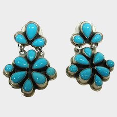 Vintage Sleeping Beauty Turquoise - Sterling Silver Dangle Earrings - by Navajo Geneva Apachito.