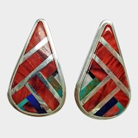 Vintage American Indian Earrings - Sterling 925 - Spiny ( Spiney ) Oyster and Mixed Stones Inlaid Earrings