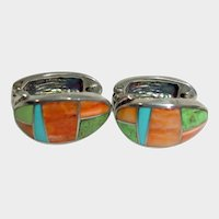 Vintage Navajo Sterling Silver, Spiney Oyster, Gaspeite, and Turquoise Post Pierced Earrings - Huggie Style Inlaid Earrings