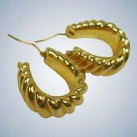Vintage 14K Gold Scalloped Hoop Pierced Earrings