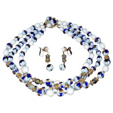 Vintage Striking FRANCOIS by Coro Demi Parure - Mixed Beads and Crystals - 1950's Necklace and Earrings Set
