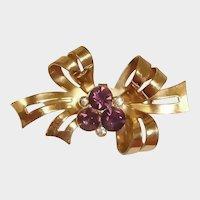 Vintage Gold Wash CORO Amethyst Rhinestone Bow Brooch