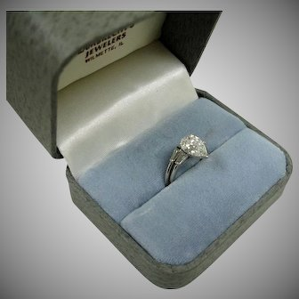 Vintage Pear Shaped  Diamond Platinum RING - Size 6-3/4 US – Certified 2.52 Solitaire