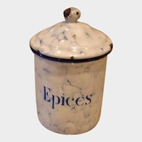 EPICES - Snow On The Mountain Enamelware - Vintage French Graniteware