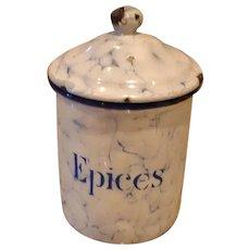EPICES - Snow On The Mountain Enamelware - Vintage French Graniteware