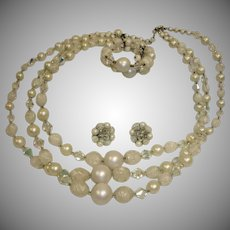 Vintage Three Strand Necklace Earrings and Bracelet Set -  Mixed Bead Demi Parure