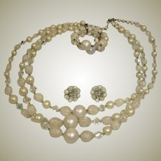 40% off SALE**Mixed Bead Demi Parure - Necklace Bracelet and Earrings Set
