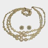 Estate Vintage Mixed Bead Demi Parure - Necklace Bracelet and Earrings Set