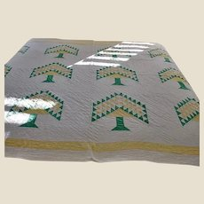 SALE - - Antique Handmade American Quilt - Centennial Tree or Tree of Paradise