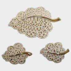 MONET Vintage Demi Parure - Brooch and Earrings Set - Monet Designer Signed - Era 1955