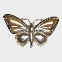 Vintage Silver and Gold Tone Butterfly Brooch by Liz Claiborne Jewelry