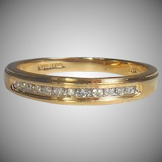14K GOLD Designer KEEPSAKE Eternity Ring - 11 Diamond Band Ring -  Sz 7