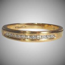 14K GOLD Designer KEEPSAKE Eternity Ring - 11 Diamond Band Ring -  Sz 7