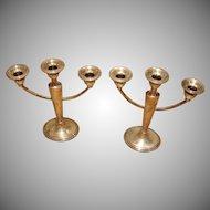 Vintage Sterling Silver 3-Arm Candelabra - Triple Candle Holder Set - 2 Weighed Candelabrum