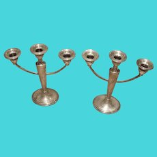 Vintage Sterling Silver 3-Arm Candle Holder - Triple Candleholder Set - 2 Weighed Candelabrum