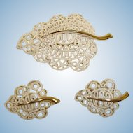 MONET Brooch and Earrings Set - MONET Vintage Demi Parure Jewelry