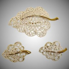 MONET Brooch and Earrings Set - MONET Vintage Demi Parure Jewelry