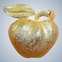 Vintage Gold Plated CORO Apple Pin - Vintage Coro Jewelry