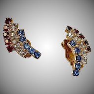 Vintage Clip On RED White and Blue Rhinestone Earrings