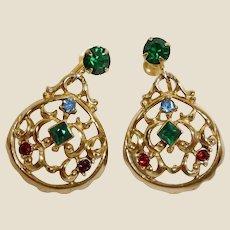Vintage DAFRI Rhinestone Earrings - Screw Back Dangle Rhinestone Drop Earrings