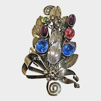 Vintage HOBE Brooch - Sterling Silver with Faceted Stones