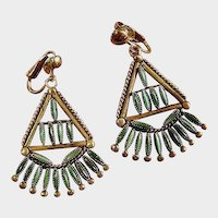 Sterling Silver Zuni Indian Turquoise Dangle Drop Earrings - Zuni Vintage Needle Point Jewelry