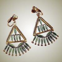 Sterling Silver Zuni Indian Turquoise Dangle Drop Earrings - Zuni Vintage Needle Point Jewelry