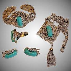 Vintage HOLLYCRAFT Parure - Turquoise Blue Necklace Bracelet Earrings and Ring Set