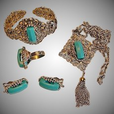 Vintage HOLLYCRAFT Parure - Turquoise Blue Necklace Bracelet Earrings and Ring Set