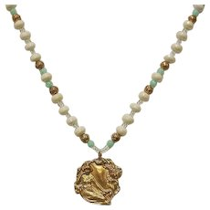 Vintage Beaded Necklace with Golden Art Nouveau Style Pendant - Estate Necklace