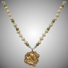 Vintage Beaded Necklace with Golden Art Nouveau Style Pendant - Estate Necklace