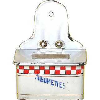 Antique Enamel Allumettes or MATCHES Red Checkered Box - Graniteware Enamelware FRENCH Match Safe - Wall Hanging Match Holder