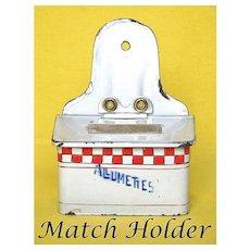 Vintage Enamel Allumettes Red Checkered Box - Graniteware FRENCH Match Safe