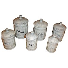 6 Canisters - Vintage Snow On The Mountain Enamelware - Graniteware