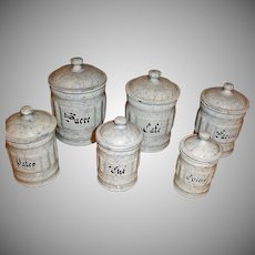6 Canisters - Snow On The Mountain Enamelware - Vintage  French Graniteware Kitchen Sets